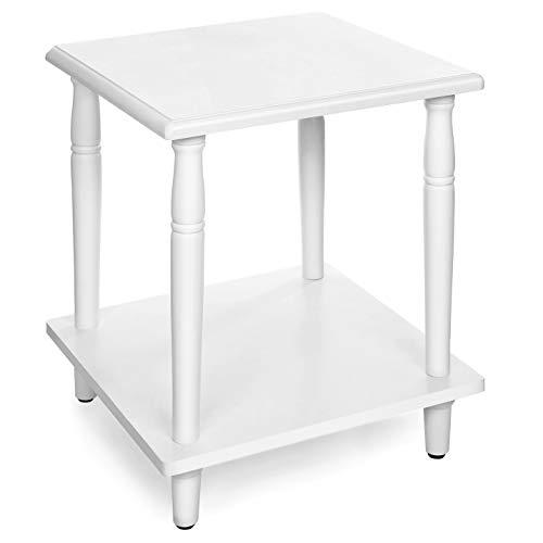 VASAGLE Beistelltisch, Nachttisch mit 2 Ebenen, Beine aus Massivholz, wie römische Säule, einfache Montage, für Wohnzimmer, Schlafzimmer, Flur, weiß LET12WT - Weiß Birkenfurnier