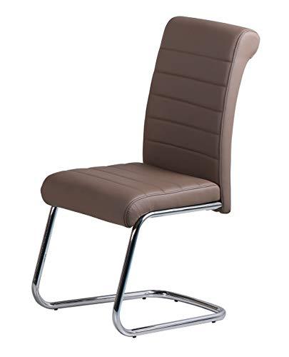 Assago PU-Stühle, Chrom/Braun, 2 Stück -