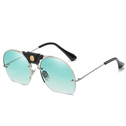 CCTYJ Sonnenbrillen Classic Gradient Sonnenbrille mit halbem Gestell Damen Randlos Runder Gestell Klar Farbverlauf Sonnenbrille Lady Shades-Green