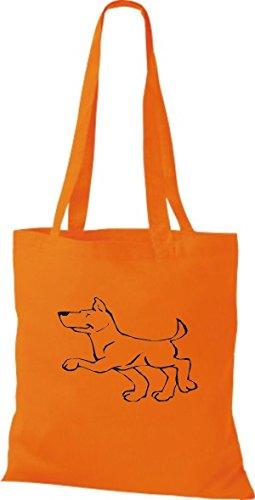 ShirtInStyle Stoffbeutel Hunde Motive Rasse Hund Lustige Tiere Züchter diverse Farbe orange