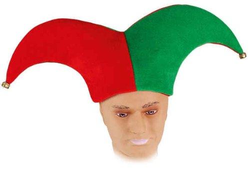 Mütze: Harlekin-Mütze, grün-rot, mit Glöckchen
