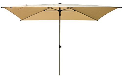 SORARA Sonnenschirm Parasol   Beige/Sand   300 x 200 cm (3 x 2 m)   Rechteckig Porto   Polyester 180 g/m² (UV 50+)  Druckmechanismus (excl. Base)