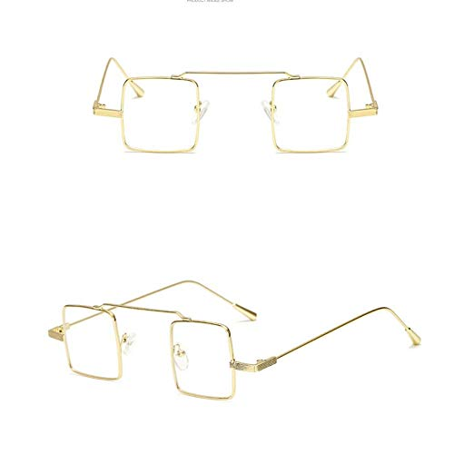 NECCT Vintage Square Candy Farbe Sonnenbrille Kleiner Rahmen Legierung Ocean Lens Sonnenbrille Reflektierende Spiegel,Gold White