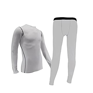Minghe Mens Thermals Base Layer Set 2pc Thin Wicking Crew Neck Long Johns White S