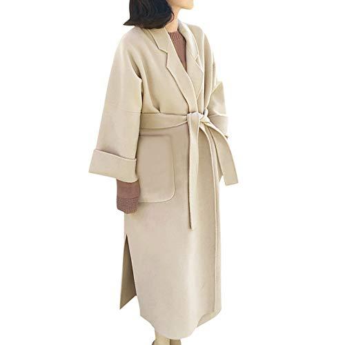 VEMOW Damen Herbst Winter Elegante Cashmere-Like Dicker Jacke Outwear Parka Cardigan Casual Täglichen Business Schlank Mantel(X2-a-Beige, EU-40/CN-XL) - Kaschmir Like Strickjacke