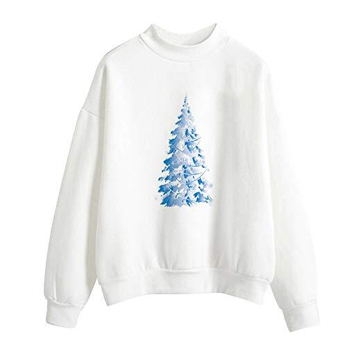 MRULIC Damen Weihnachten Print Langarm Pullover 3D Druck Jumper Langarmshirt Tops Bluse Sweater...