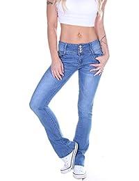Style-Station Damen Bootcut Jeans, Schlaghose in Blau, Hüftjeans Tiefsitzend 4f8849b43d