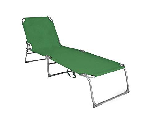Fair lettino prendisole joy schienale regolabile pieghevole portatile mare campeggio shoponline (verde)