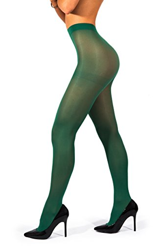 sofsy undurchsichtige Microfibre Strumpfhose Unsichtbar verstärkt undurchsichtig Control Top Brief 40Den [Hergestellt in Italy] Forest Green Waldgrün 4 - Large (Grün Nylon-strumpfhosen)