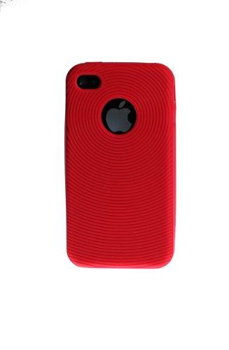 wortek® Silikon Schutzhülle geriffeltes Kreismuster extra Grip Apple iPhone 4 / 4S Schwarz Silikon - Rot