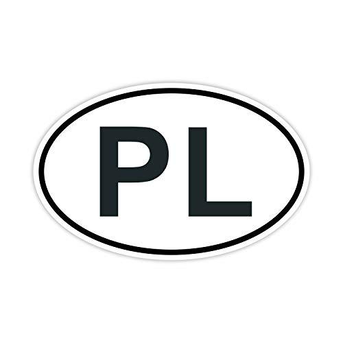 easydruck24de Auto-Aufkleber Länderkennzeichen Polen I kfz_222 I 14,5 x 9 cm I Sticker weiß schwarz Fan-Artikel Produkt Flagge Fahne Fahrzeug-Aufkleber