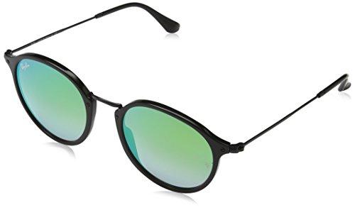 Ray Ban Herren Sonnenbrille Round Fleck, Schwarz (Black), One Size (Herstellergröße: 52)
