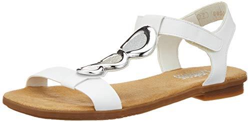 Rieker Damen 64265-80 Geschlossene Sandalen, Weiß (Weiss/Bianco/Ice/Silber 80), 39 EU (Damen Sandalen Flache)