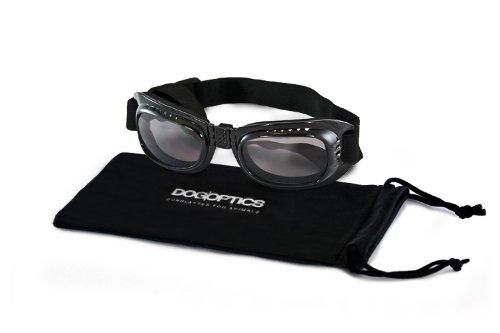 Dogoptics Biker Brille Sonnenbrille für Hunde Gestell schwarz / Gläser getönt smoke Größe L