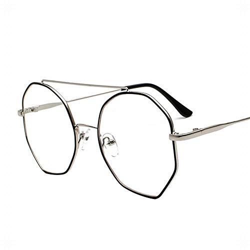 UICICI Metallrunde Full-Frame-Flachlinse-Gläser Leichte Gläser (Farbe : Silver/Black Frame)