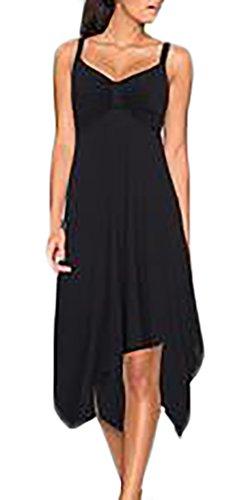 Frauen Sundresses Unregelmäßiges Uni-Farben V-Ausschnitt Freizeitkleid Trägerkleid Schulterfrei Midikleid Schwarz