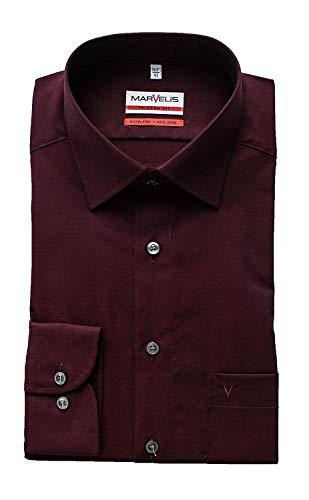 Marvelis Hemd, Modern Fit, Langarm 64cm, Bügelfrei, Rot, New Kent Kragen, 100% Baumwolle (40) (Cotton Iron-hemd Non)