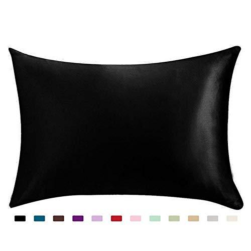 TAMCIWLOS Königin Standard Satin Silk Soft Mulberry Plain Kissenbezug Stuhl Sitz Platz Kissenbezug Home @ Black -