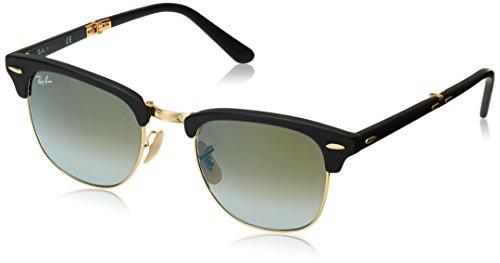 Ray Ban Unisex-Erwachsene Sonnenbrille Clubmaster Folding Gestell: schwarz,Gläser: grünverlauf 901S9J), Medium (Herstellergröße: 51)