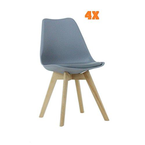 P & N Homewares® Lorenzo Tulip Stuhl Kunststoff Retro Esszimmer Stühle weiß schwarz grau rot gelb pink grün blau (Set von 4) grau