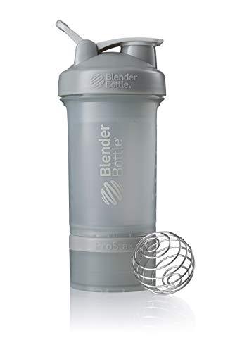 BlenderBottle ProStak Shaker | Protein Shaker| Fitness Shaker | BPA frei | mit BlenderBall | inkl. 2 Containern 150ml & 100ml +1 Pillenfach | 650ml - Pebble