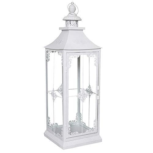 Lanterna Chalet di grandi dimensioni, bianca, stile: shabby chic, altezza: 71cm, bianco opaco, con dettagli romantici
