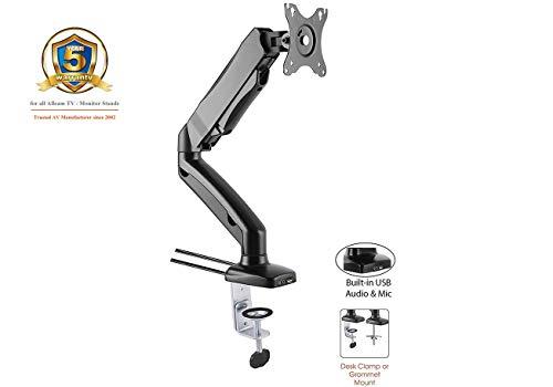 ACGU31S Gas Spring Single Monitor Arm Stand w/vesa Bracket, Desk Mount clamp & Grommet for 15