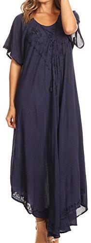 Plus Blau Größe Maxi-kleid (Sakkas 1701 - Lilia gestickter schnüren sich oben Mieder Relaxed Fit Maxi-Kleid - Navy - OS)