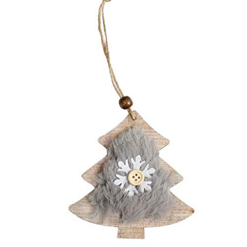 LANDUM Rústico Mini Colgante de Navidad de Madera Copo de Nieve/Campana/Zapato/Guante/Reno/Botón de...