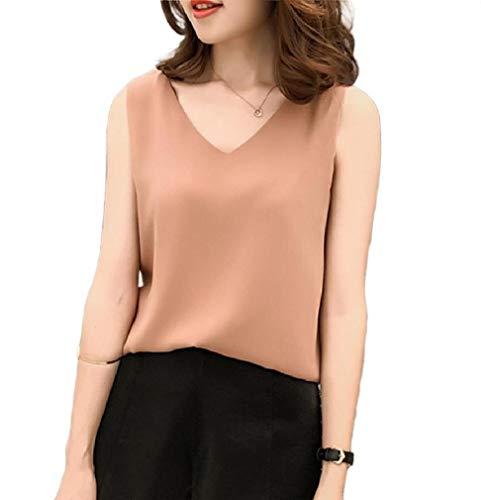 CuteRose Women Back Cross Solid Colored Tanks Sleeveless Chiffon Blouse Tops Khaki 3XL (Western Shirt 4x)