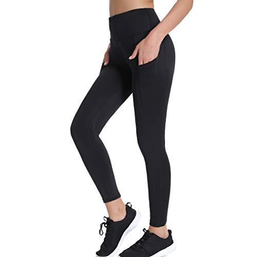 Joyshaper Sporthose Damen Länge Leggings Schwarz Fitnesshose Figurformende Hose Shaping Tights Capri Hohe Taille für Yoga Fitness Mit Seitentaschen (Schwarz #1, Medium) -