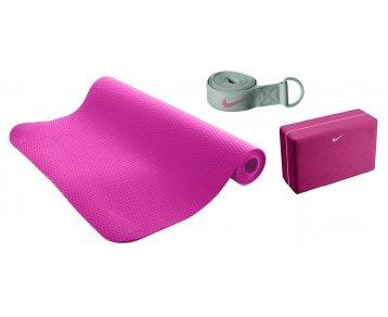 Nike Essential Yoga Kit Mat Vivid Pink/Cool Grey, 173X61X03cm