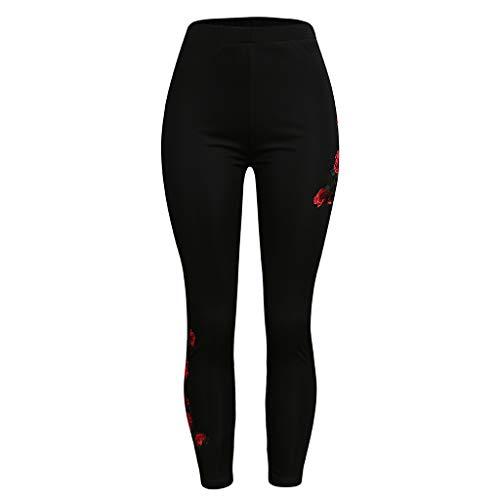 Lazzboy Womens Fashion Solid Appliques Hohe Taille Plus Size Top Hosen Damen Leggings Sport Strumpfhose Fitness Yoga Joggen Pants Stretch Print Motive Muster Legins Hose(Schwarz,4XL)