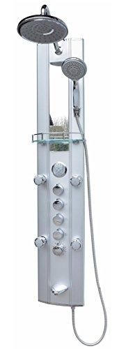 Duschpaneele Regendusche mit Thermostat Wanneneinlauf Massagedüsen Duschpaneel Duschkopf Regenbrause Dusche Silber Wand und Eckmontage