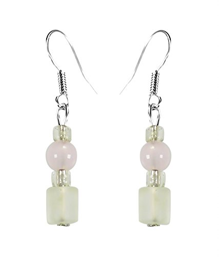 CRYSTAL & BEADS Rose Quartz Colour Round Crystal & Milky White Colour Crystal & White Colour Crystal Earring