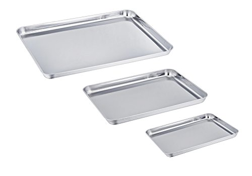 TeamFar Baking Pan Set of 3, Stainless Steel Baking Tray Sheet Professional, Non Toxic & Healthy, Mirror Finish & Rust Free, Easy Clean & Dishwasher Safe