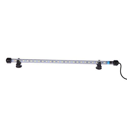 UEETEK 48CM LED Pecera Luces Iluminación del acuario 5050 SMD RGB Barra de luz Subacuática sumergible impermeable Clip lámpara - Blanco (Europe Standard Plug)