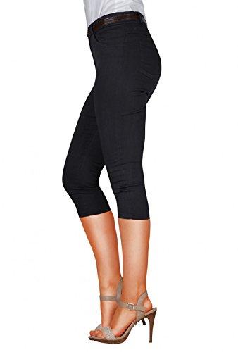 Damen Capri Hose Stoffhose Business inkl. Gürtel (weitere Farben ) Nr. 570 Steingrau
