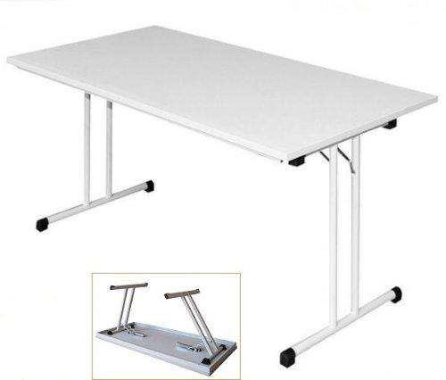 KLAPPTISCH Besprechungstisch Kantinentisch Verkaufstisch Schreibtisch 120x80 Lichtgrau/Stahl-Gestell 350490