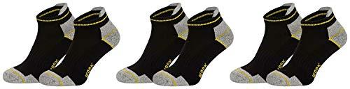 Piarini 6 Paar Arbeitssocken Funktionssocken - Sneaker-Socken Füßlinge - verstärkte Ferse und Spitze - schwarz 43-46 -
