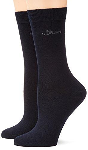 s.Oliver Damen Socken 2-er Pack, S20002, Gr. 35-38, Blau (04 navy) (Logo Socken Neues)