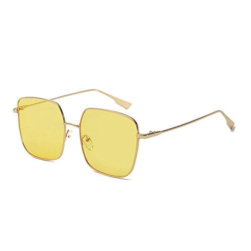 SUNGLASSES Net Red Square Metall Sonnenbrille Rahmen Mode Polygon Sonnenbrille Trend Large Box Gesicht-Gesicht Sonnenbrille (Farbe : Gold Frame Yellow)