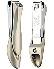 Foolzy Nail Cutter Clippers With Curved Nail File, Fingernail and Toenail Clipper Cutter, Stainless Steel Nail Trimmer