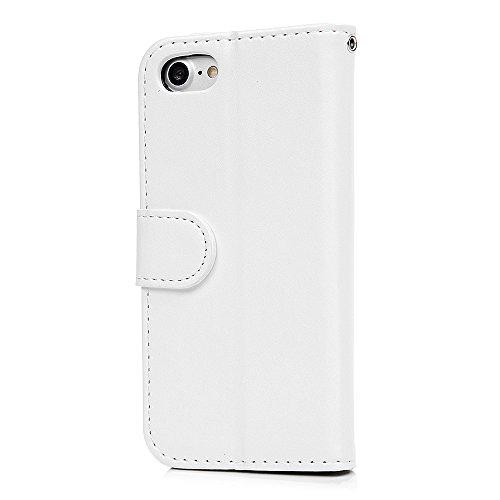 """MAXFE.CO Schutzhülle Tasche Case für iPhone 7 4.7"""" PU Leder Flip Tasche Cover Prägung Muster Einhorn im Ständer Book Case / Kartenfach Grau Weiß"""