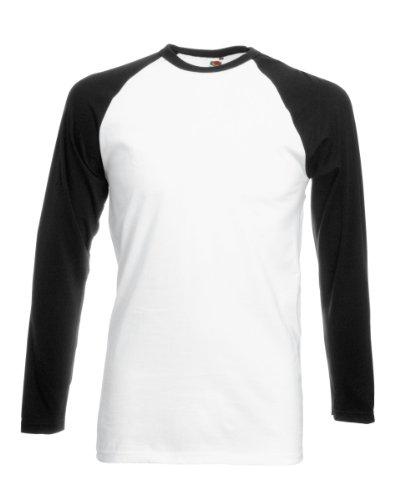 Fotl Long Sleeve Baseball Tee - Top de sport - Homme Blanc - Blanc/noir