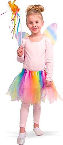 Folat 21846 21846-Regenbogen-Fee Kostüm-Rock mit Flügeln und Zauberstab, Einheitsgröße Kinder, Mehrfarbig, Fits All (Kinder Kostüme Für Alle)