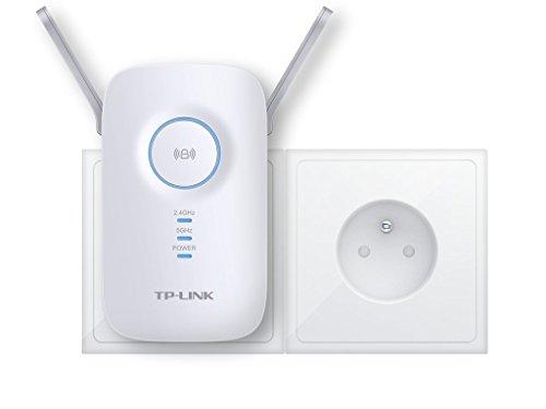 TP-Link Répéteur 1200 Mbps Wi-Fi Gigabit Bi-Bande: 300 Mbps en 2.4 GHz et 867 Mbps en 5 GHz, 1 Port Ethernet Gigabit, Compatibilité Universelle, Installation Facile, Version Française (RE350) (Wi-Fi AC Haut débit) - Blanc