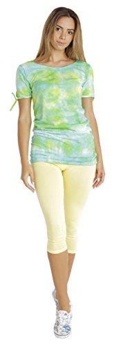 BeLady Damen Leggings 3/4 Capri aus Baumwolle Blickdichte Leggins Viele Farben (Gelb, 7XL - 54)