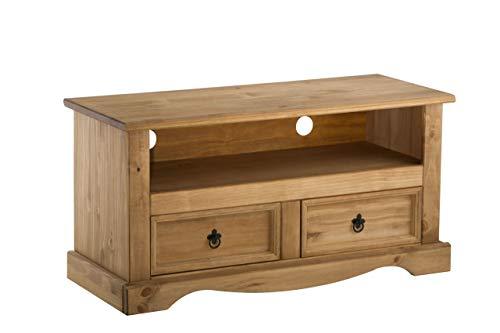 Birlea Corona - Mesa para televisor (2 cajones, madera de pino encerada,...