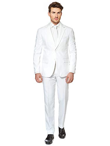 OppoSuits White Knight Solid White Suit For Men Coming With Pants, Jacket and Tie - 100% Money Back Guarantee, EU 52 -